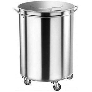 PORTARIFIUTI CARRELLATO IN ACCIAIO INOX - MOD. AV4669 - Struttura a forma cilindrica in acciaio inox - Coperchio stampato - Ruote piroettanti - Capacità Lt. 100 -  Dim. Ø cm 46 x H 70