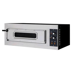 ELECTRIC PIZZA OVEN - MECHANICAL CONTROL - Mod. BASIC 1/50/V - Single deck oven with glass window - firebrick oven base - Chamber dimensions cm L 62 x D 50 x 12 h - N. Pizzas 1 (Ø cm 45) - Power 4 Kw - CE APPROVED