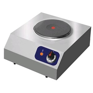 ELECTRIC BOILING TOP, 1 ROUND PLATE - MOD.HP1E - PLATE DIMENSIONS Ø 230 - SINGLE PHASE V 230/1 - POWER Kw 2 - TOTAL DIMENSIONS mm L 380 x D 440 x h 185 - WEIGHT Kg 6