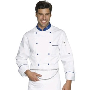 EUROCHEF CHEFS JACKET - MOD. 057099 - 100% COTTON - DOUBLE-BREASTED - ROUND BLUE BUTTONS - BREAST AND PEN POCKET - COLOUR: WHITE WITH BLUE PIPING ON BREAST POCKET AND CUFFS - BLUE COLLAR WITH EUROPEAN FLAG EMBROIDERY
