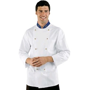 EUROITALY CHEFS JACKET - MOD. 057199 - 100% COTTON - DOUBLE-BREASTED - ROUND GOLD-COLOURED BUTTONS - BREAST AND PEN POCKET - COLOUR: WHITE WITH EUROPEAN FLAG EMBROIDERY ON COLLAR - ITALIAN FLAG PIPING ON COLLAR OUTLINE