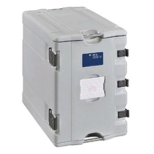 ISOTHERMAL CONTAINER, FRONT ACCESS DOOR - MOD. AF12 - FOR THE TRANSPORT OF MULTIPLE PORTIONS - HOT, CHILLED OR FROZEN - GASTRONORM GN1/1, 1/2 and 1/3 - CAPACITY' Lt. 90 - DIMENSIONS cm L 44 x D 66,5 x 65 H - EC STANDARDS