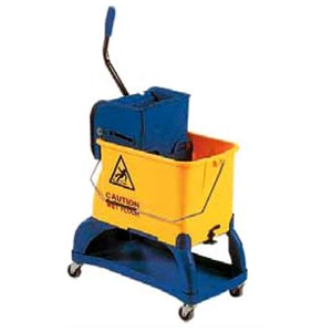 MOP WRINGER TROLLEY - MOD. CA1599 - Bucket with divider - Top section for holding detergents - Dimensions cm L55xD27xH87
