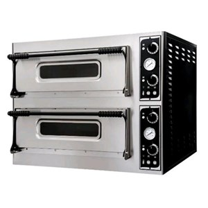 ELECTROMECHANICAL PIZZA OVEN - Mod. BASIC XL44 - Twin deck - firebrick oven base - Chamber dimensions cm L 72 x D 72 x 14 h - N. Pizzas 4 + 4 (Ø cm 35) - Power 12 Kw - EC standards