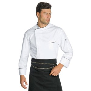 AUCKLAND CHEFS JACKET - MOD. 059710 - 100% SUPER DRY MICROFIBRE POLYESTER - BREATHABLE STAIN-PROOF FABRIC - INVERTED BOX PLEAT FOR IMPROVED BREATHABILITY - COLOUR: WHITE