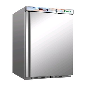 UNDERCOUNTER FRIDGE - STAINLESS STEEL AND ABS - STATIC COOLING - ECO - Mod. G-ER200SS - SINGLE SOLID DOOR - CAPACITY LT 130 - TEMPERATURE RANGE +2º/+8ºC - Dimensions cm L60 x D58,5 x h85,5 - CE APPROVED