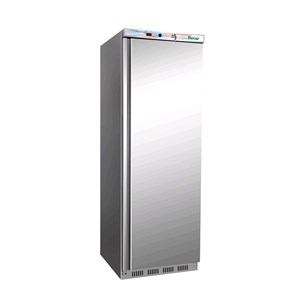 UPRIGHT FRIDGE - STAINLESS STEEL AND ABS - STATIC COOLING - ECO - Mod. G-ER400SS - SINGLE SOLID DOOR - CAPACITY LT 340 - TEMPERATURE RANGE +2º/+8ºC - Dimensions cm L60 x D58,5 x h185,5 - CE APPROVED