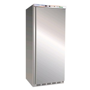UPRIGHT FRIDGE - STAINLESS STEEL AND ABS - STATIC COOLING - ECO - Mod. G-ER600SS - SINGLE SOLID DOOR - CAPACITY LT 555 - TEMPERATURE RANGE +2º/+8ºC - Dimensions cm L77,7 x D69,5 x h189,5 - CE APPROVED
