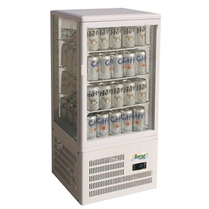 REFRIGERATED COUNTERTOP DRINKS DISPLAY - GLASS ON 4 SIDES - Mod. G-TCBD68 - TEMPERATURE RANGE +2º/+8ºC - Capacity Lt. 58 - Supply SINGLE PHASE 230V/1/50Hz - Power W 160 - Dimensions cm L42,8 x D38,6 x h92,7 - Weight Kg 33