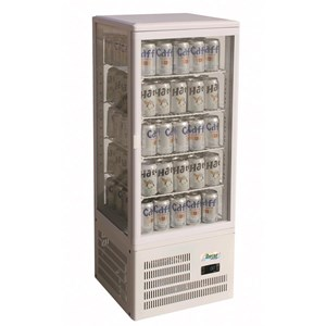 REFRIGERATED COUNTERTOP DRINKS DISPLAY - GLASS ON 4 SIDES - Mod. G-TCBD98 - TEMPERATURE RANGE +2º/+8ºC - Capacity Lt. 98 - Supply single phase 230V/1/50Hz - Power W 170 - Dimensions cm L42,8 x D38,6 x h115,2 - Weight Kg 38