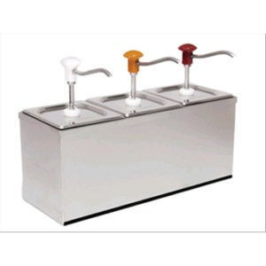 TRIPLE SAUCE DISPENSER - Mod. DIS B3 - Stainless steel AISI 304 - Suitable for cold and thick sauces - Capacity lt 3 x 3 - Adjustable sauce portion ml 30 x 3 - Dimensions cm L 60,5 x D 20,5 x 43,5h - EC standards