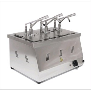 BAIN MARIE SAUCE DISPENSER - Mod. DIS 03 - Bacinelle GN 1/4 200h - Suitable for hot, sticky and dense sauces - Adjustable sauce portion 40ml - N. 3 pumps - Power W 2200 - Dimensions cm L 60,5 x D 265 x 43,5h - Weight Kg 11 - EC standards