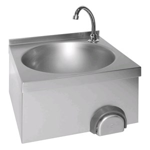 HAND-WASH BASIN - WALL-MOUNT - MOD. LM 310 - AISI 304 STAINLESS STEEL - KNEE-OPERATED - TAP AND DRAIN INCLUDED - DIMENSIONS cm 40 x 40 x 31 h - WEIGHT Kg 5,5