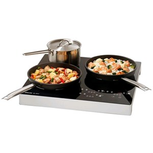 INDUCTION HOB, 3 ZONES - Mod. 105940 - Glass ceramic plate - Touch control panel - Induction surface mm 200/160/200 - Total power W 3400 - SINGLE PHASE - DIMENSIONS cm L 51 x D 48,5 x 6,5h - Norma CE