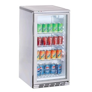 BOTTLE COOLER - Mod. AK60RG - Capacity lt. 60 - N. 1 glass door - Static Cooling - TEMPERATURE 0/+10 °C - Power W 90 - Single phase - Dimensions cm L 47,5 x D 51,7 x 74,6h - CE marked