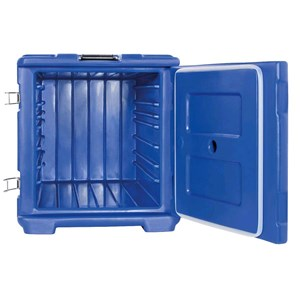 ISOTHERMAL CONTAINER, FRONT ACCESS DOOR - MOD. AF7 - FOR THE TRANSPORT OF MULTIPLE PORTIONS - HOT, CHILLED OR FROZEN - GASTRONORM GN1/1, 1/2 and 1/3 - CAPACITY' Lt. 63 - DIMENSIONS cm L 44 x D 64 x 48 H - EC STANDARDS