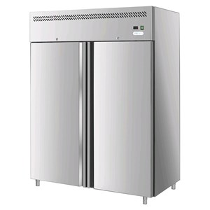 UPRIGHT FREEZER - STAINLESS STEEL AISI 201 - VENTILATED COOLING - Mod G-GN1410BT FC - GASTRONORM 2/1(cm 65x53) - DOUBLE SOLID DOOR - CAPACITY LT 1400 - TEMPERATURE -18º/-22ºC - Dimensions cm L148 x D83 x h201 - CE APPROVED