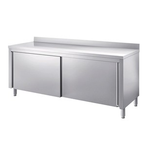 Stainless steel work table with understorage and sliding doors - worktop thickness cm 4 - with upstand