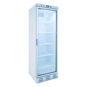 UPRIGHT FRIDGE - PAINTED STEEL - FOR BEVERAGES - STATIC-COOLED WITH FAN - MOD. EN372XI - CAPACITY Lt 382 - N. 1 GLASS DOOR - TEMPERATURE 0/+10°C - DIM. cm L 60 x D 62,4 x H 183 - CE approved