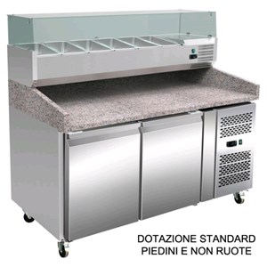 REFRIGERATED COUNTER / PIZZA COUNTER - AISI 304 STAINLESS STEEL - WITH PREP UNIT - COUNTER SUITABLE FOR PIZZA CONTAINERS cm 60x40 - VENTILATED COOLING - Mod. RB0238 - N. 2 DOORS - TEMPERATURE -2°/+8°C - Dim. Cm L 151,5 x D 80 X h 143,5 - CE approved