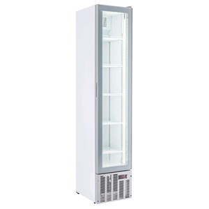 UPRIGHT FRIDGE - WHITE PAINTED STEEL - FOR BEVERAGES - STATIC-COOLED WITH FAN - MOD. ESP COOLER - CAPACITY Lt 164 - N. 1 GLASS DOOR - TEMPERATURE 0/+10°C - DIM. cm L 39 x D 47,5 x H 188 - CE approved