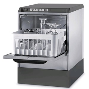 """ELECTRONIC GLASSWASHER - AISI 304 STAINLESS STEEL 18/10 - MODEL 5722 VZ - CLEARANCE MAX HEIGHT cm 25 - SQUARE RACK cm 35 x 35 - CYCLE 120"""" - RINSE AID DISPENSER - Total dimensions cm L 42,5 x D 45,5 x h 63,6"""