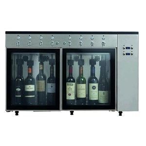 BOTTLE WINE DISPENSER AND NITROGEN PRESERVER - Mod. VINO 6 - Plug & Play - AISI 304 stainless steel construction - Capacity: N. 6 bottles in line, two slots of n. 3 bottles each - Supply 220/240V-50 Hz - Dimensions cm L 84,5 x D 38 x 64,1 h