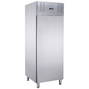 UPRIGHT FRIDGE - STAINLESS STEEL - Ventilated cooling - Mod. AKT700TN - Gastronorm 2/1 (cm 65 x 53) - Single door - Capacity L  700 - Temperature 0°/+8°C - Dim. cm L 74 x D 88,8 x 205 H - CE approved