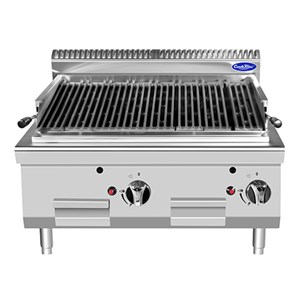 COUNTERTOP GAS LAVA STONE GRILL - Mod. CV7I8EOE - Power kW 14 - Dimensions cm L 80 x D 70 X H 54,7 - CE approved