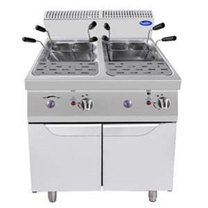 GAS PASTA COOKER - Mod. CV7I8RH - NO. 2 TANKS 24L + 24L - AMBIENT CUPBOARD WITH HINGED DOORS - Power kW 20 - Dimensions cm L 80 x D 70 X H 108,5 - CE approved