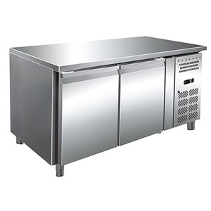 REFRIGERATED TABLE - AISI 304 STAINLESS STEEL - VENTILATED COOLING - Mod. ECZ2100TN - GASTRONORM 1/1(cm 53 x 32,5) - N. 2 DOORS - CAPACITY Lt 314 - TEMPERATURE  -2°/+8°C - Dim. cm. L 136 x D 70 x h 86 - CE approved