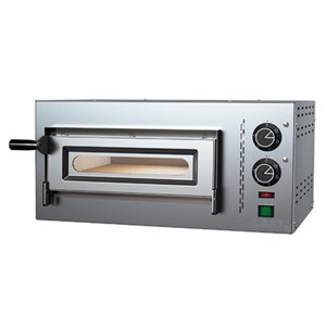 ELECTRIC MECHANICAL PIZZA OVEN- Mod. O35/8O - Single deck- Firebrick oven base- Chamber dimensions cm L 35 x D 35 x 8,5 h - No. Pizzas 1 (Ø cm 30/34) - Power2,2 kW - CE approved