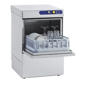 MECHANICAL GLASS WASHER - STAINLESS STEEL - MOD. ES35 - SINGLE PHASE - MAX CLEARANCE cm 25 - SQUARE RACK cm 35x35 - CYCLE (sec) 150 - HYDRAULIC RINSE AID DOSING PUMP - Total dimensions cm L 41 x D 49 x h 65