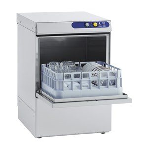 MECHANICAL GLASS WASHER - STAINLESS STEEL - MOD. ES40 - SINGLE PHASE - MAX CLEARANCE cm 29 - SQUARE RACK cm 40x40 - CYCLE (sec) 150 - HYDRAULIC RINSE AID DOSING PUMP - Total dimensions cm L 46 x D 54 x h 69