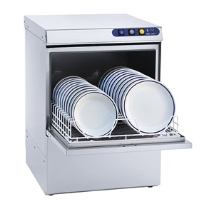MECHANICAL DISHWASHER - STAINLESS STEEL - MOD. ES53 - THREE PHASE - MAX GLASS CLEARANCE cm 30,5 - MAX PLATE CLEARANCE cm Ø 32 - SQUARE RACK cm 50x50 - CYCLE (sec) 120/180 - HYDRAULIC RINSE AID DOSING PUMP - Total dimensions cm L 56 x D 60 x h 80