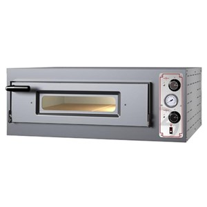 ELECTRIC MECHANICAL PIZZA OVEN - Mod. BAS 4 - Single deck- Firebrick oven base - Chamber dimensions cm L 70 x D 70 x 15 h - No. Pizzas 4 (Ø cm 30/34) – Power 5,6 kW - CE approved