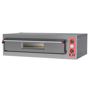 ELECTRIC MECHANICAL PIZZA OVEN - Mod. BIG 4 - Single deck - Firebrick oven base or Fully firebrick oven chamber  - Chamber dimensions cm L 70 x D 70 x 15 h - No. Pizzas 4 (Ø cm 30/34) – Power 5,6 kW - CE approved