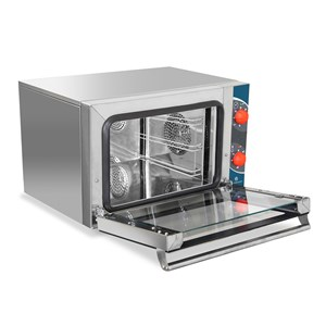 ELECTRIC CONVECTION OVEN - SUITABLE FOR GASTRONOMY - MOD. BLACK GN 2/3 - BOTTOM-HINGED DOOR - SINGLE PHASE SUPPLY 230V/1/50Hz - POWER kW 2,5 - CAPACITY N. 3 TRAYS GN 2/3 cm 35,4 x 32,5 - DIMENSIONS Cm L 60 x D 52 X h 39