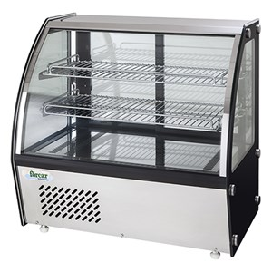 REFRIGERATED COUNTERTOP SNACK DISPLAY - STAINLESS STEEL AISI 430 - CURVED GLASS - Mod. G-VPR100 - TEMPERATURE RANGE +2°/+8°C - Capacity Lt. 100 - Supply single phase 230V/1/50Hz - Power W 150 - Dimensions cm L69,5 x D46,2 x h67 - Weight Kg 57