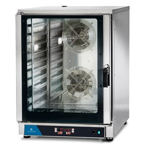 ELECTRIC CONVECTION OVEN - SUITABLE FOR GASTRONOMY AND PASTRY - MOD. FED 10 DIG - DIGITAL CONTROL - DIRECT STEAM - 9 COOKING PROGRAMMES - THREE PHASE SUPPLY 400V/3/50Hz - POWER KW 12,7 - CAPACITY: 10 X (GN 1/1 ; 60X40) - DIMENSIONS Cm L 84 x D 91 X h 115
