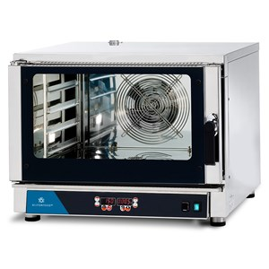 ELECTRIC CONVECTION OVEN - SUITABLE FOR GASTRONOMY AND PASTRY - MOD. FED 4 DIG - DIGITAL CONTROL - DIRECT STEAM - 9 COOKING PROGRAMMES - THREE PHASE SUPPLY 400V/3/50Hz - POWER KW 5,45 - CAPACITY: 4 X (GN 1/1 ; 60X40) - DIMENSIONS Cm L 84 x D 91 X h 67